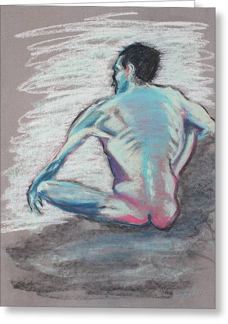 Thin Pastels Greeting Cards - Back of Sitting Man Greeting Card by Asha Carolyn Young
