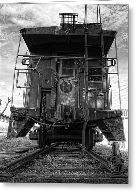 Caboose Photographs Greeting Cards - Back of the Line - BW Greeting Card by Steve Hurt