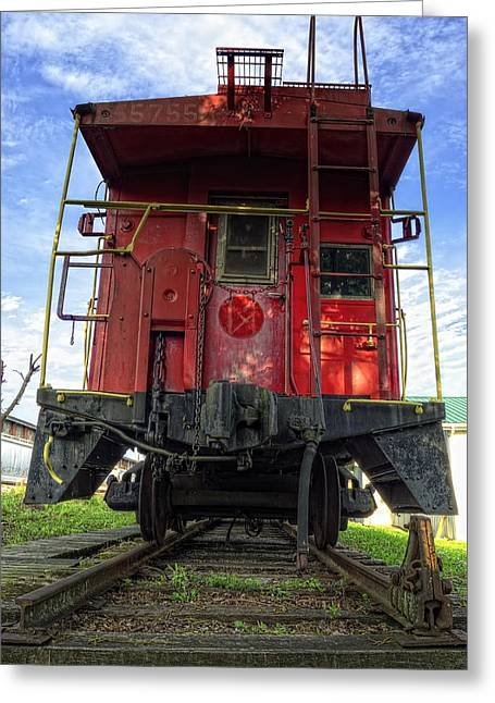Caboose Photographs Greeting Cards - Back of the Line Greeting Card by Steve Hurt