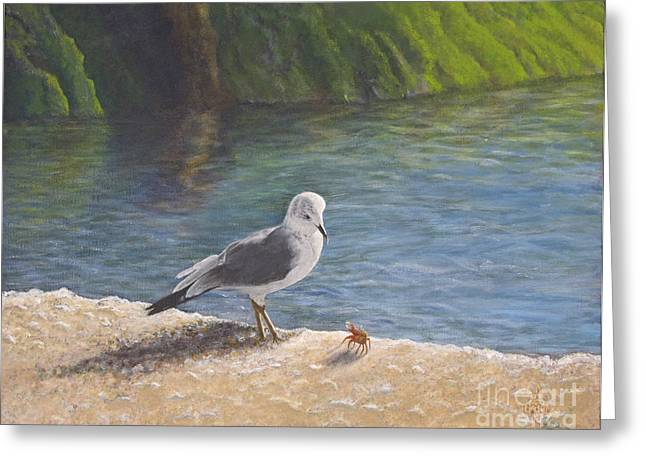 On The Beach Greeting Cards - Back Off Greeting Card by Cindy Lee Longhini