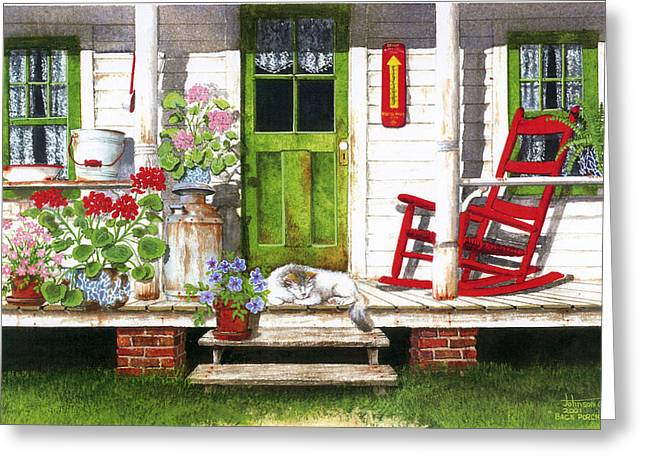 Country Framed Prints Greeting Cards - Back Porch Greeting Card by Larry Johnson
