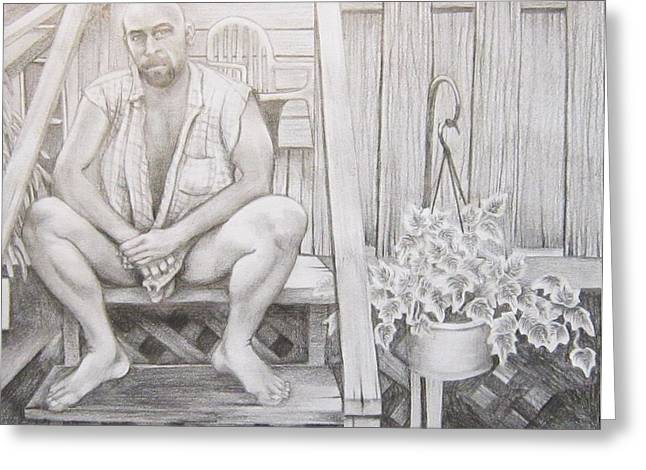 Homoerotic Drawings Greeting Cards - Back Porch Greeting Card by Michael Flynt