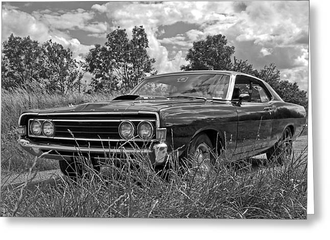 Old Country Roads Greeting Cards - Back Road Find - Ford Torino Cobra Jet 1969 Greeting Card by Gill Billington