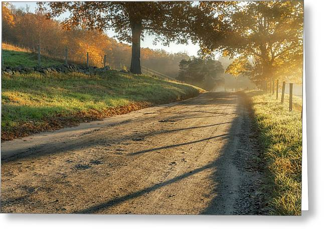 Connecticut Scenery Greeting Cards - Back Road Morning Greeting Card by Bill  Wakeley