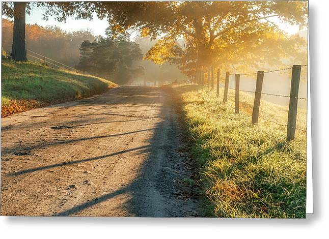 Fog Greeting Cards - Back Road Morning Square Greeting Card by Bill  Wakeley