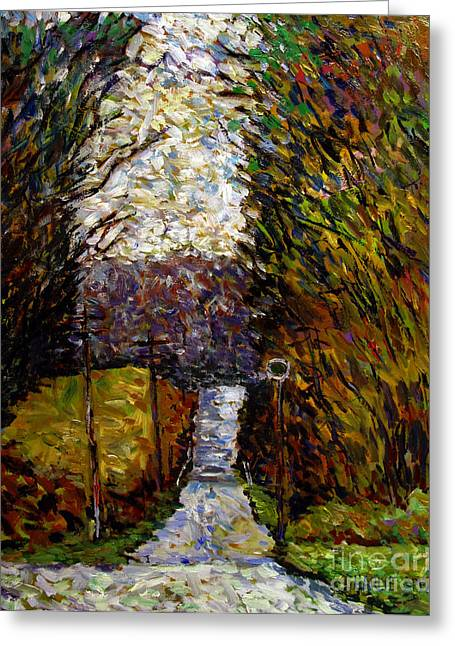Seurat Greeting Cards - Back Road to Hilly House Greeting Card by Charlie Spear