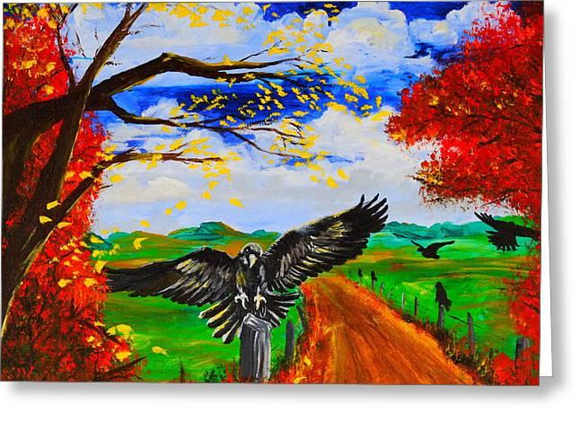 Crows Framed Prints Greeting Cards - Back Roads Hangout Greeting Card by Cheryl Nancy Ann Gordon
