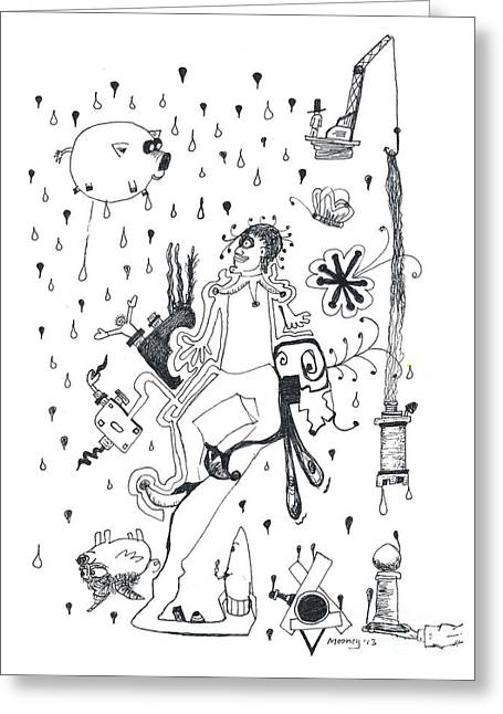 Abstract Rain Drawings Greeting Cards - Back Rooms of My Mind Door 15113 Greeting Card by Michael Mooney