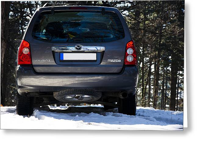 Teruel Greeting Cards - Back side of sport utility vehicle Mazda Tribute  Greeting Card by Newnow Photography By Vera Cepic