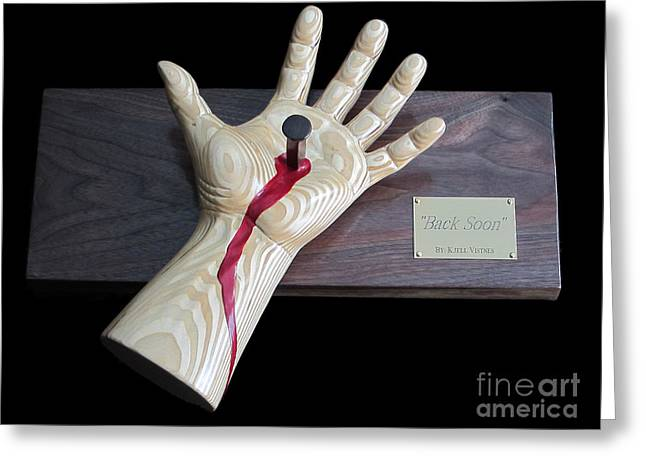 Religious Sculptures Greeting Cards - Back Soon Greeting Card by Kjell Vistnes