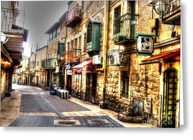 Old Western Photos Mixed Media Greeting Cards - Back Street in Downtown Israel Greeting Card by Michael Braham
