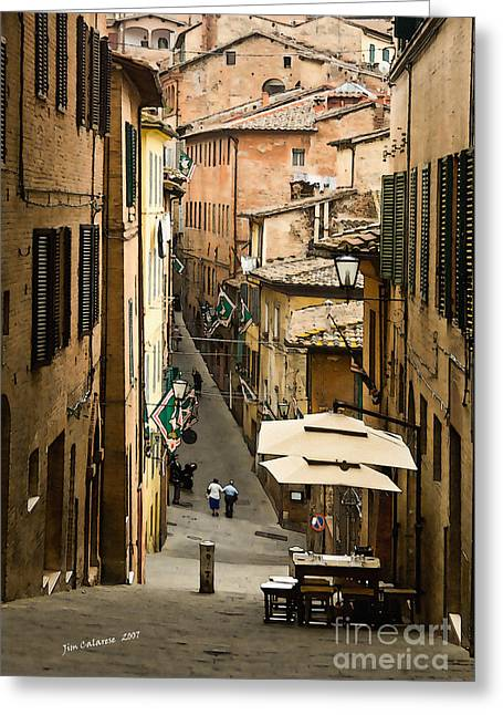 Siena Italy Greeting Cards - Back Street in Siena Italy Greeting Card by Jim  Calarese