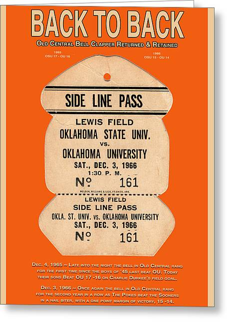 Oklahoma University Greeting Cards - Back To Back Rivalry Wins Greeting Card by Robert J Sadler