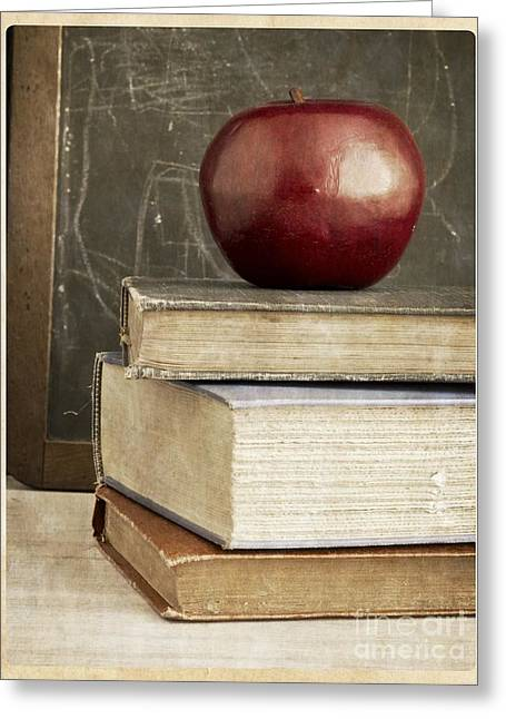 Back Photographs Greeting Cards - Back to School Apple for Teacher Greeting Card by Edward Fielding