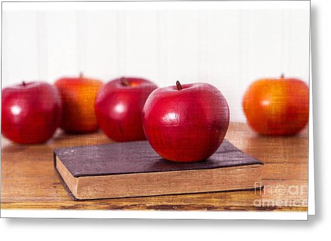 Classroom Greeting Cards - Back to School Apples Greeting Card by Edward Fielding