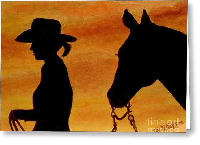 Back To The Barn Greeting Card by Julie Brugh Riffey