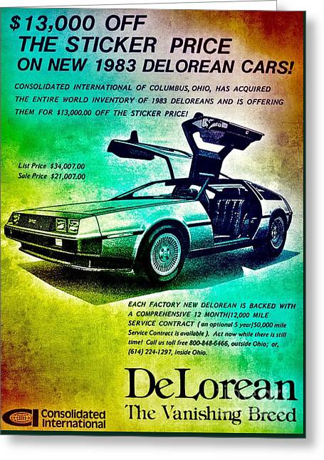 Back To The Delorean Greeting Card by Helg