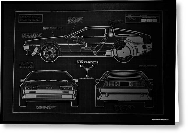 Delorean Greeting Cards - Back to the Future DeLorean Blueprint 1 Greeting Card by Tommy Anderson