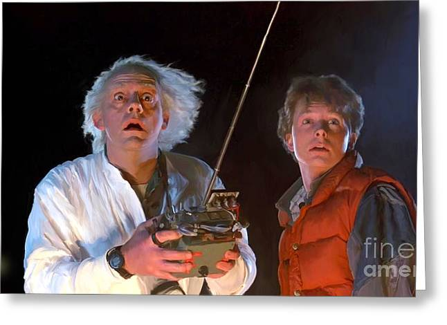 1955 Movies Greeting Cards - Back to the Future Greeting Card by Paul Tagliamonte