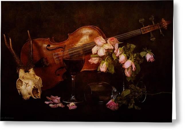 Back To The Past- Still Life With Violin Greeting Card by Guna  Andersone