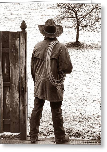 Leather Jackets Greeting Cards - Back to Work Greeting Card by American West Legend By Olivier Le Queinec