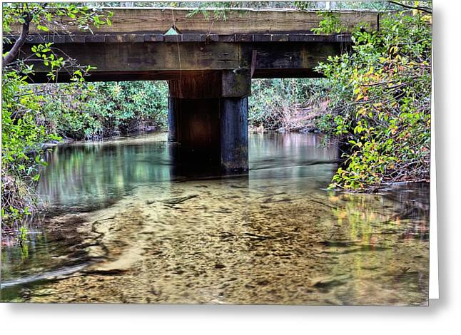 Back Water River Bridge Greeting Card by JC Findley