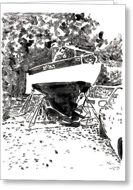 Docked Sailboat Mixed Media Greeting Cards - Back Yard Dry Dock Greeting Card by Wilson Stewart