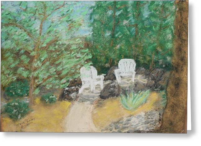 Sand Art Pastels Greeting Cards - Back Yard Study Greeting Card by Stephen Raley