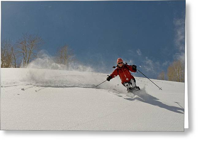 Backcountry Powder Skiing Greeting Card by Howie Garber