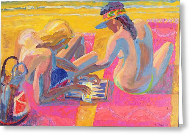 Couples Photographs Greeting Cards - Backgammon Ii, 2005 Oil On Board Greeting Card by William Ireland