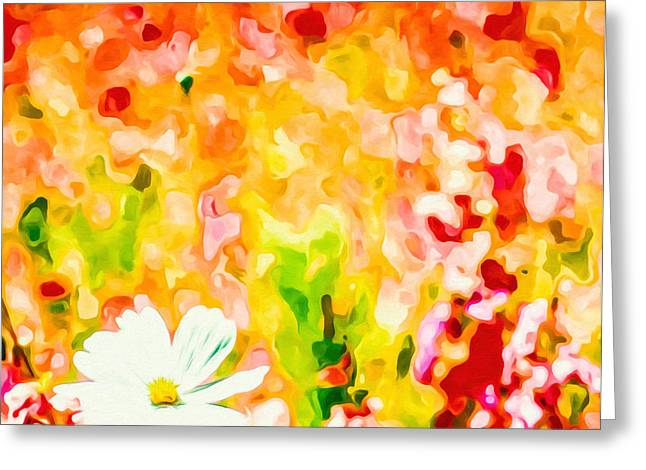 Botanical Greeting Cards - Background of Flowers Field Greeting Card by Lanjee Chee