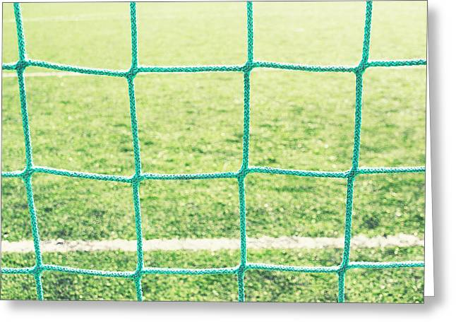 Netting Greeting Cards - Background Of Soccer Goalnet  Greeting Card by Mikel Martinez de Osaba