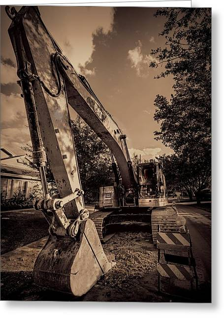 Dirt Pile Greeting Cards - Backhoe-2 Greeting Card by Rudy Umans
