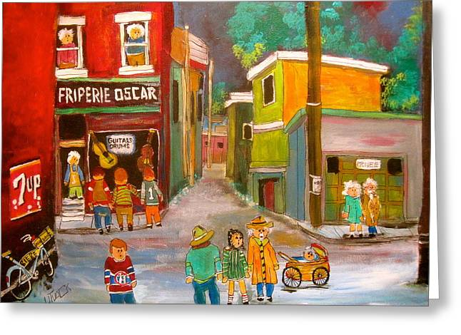 Litvack Greeting Cards - Backlanes Montreal Greeting Card by Michael Litvack