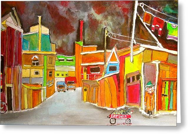 Wooden Wagons Paintings Greeting Cards - Backlanes of the 1950s Greeting Card by Michael Litvack