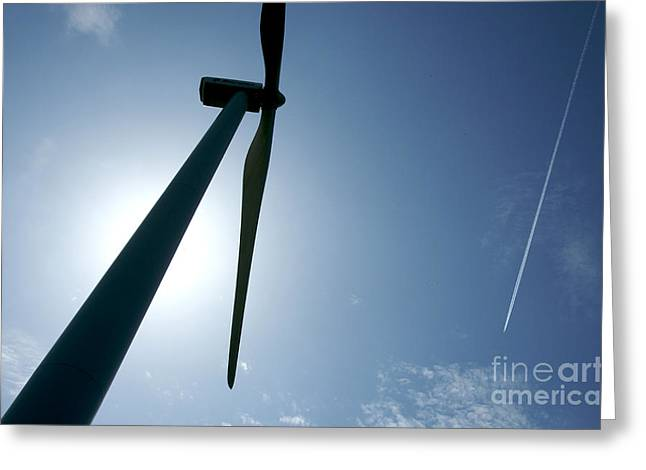 Backlighting Greeting Cards - Backlighting of a wind turbine and plane. Greeting Card by Bernard Jaubert