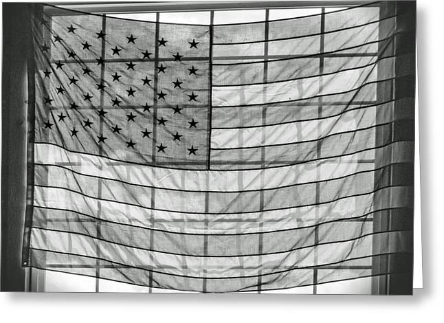 Backlit American Flag In Black And White Greeting Card by Photographic Arts And Design Studio
