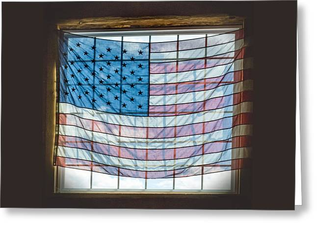 Stars And Strips Greeting Cards - Backlit American Flag Greeting Card by Photographic Arts And Design Studio
