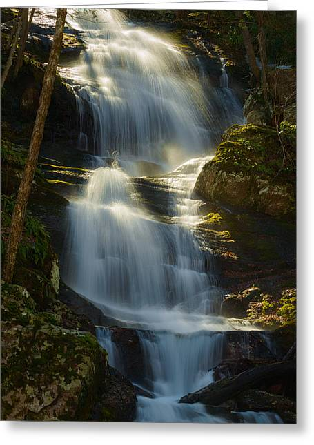 Buttermilk Falls Greeting Cards - Backlit Buttermilk Greeting Card by Mark Rogers