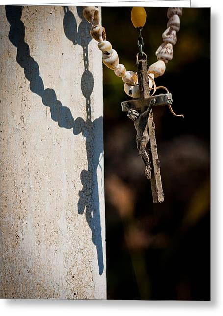 Rosary Greeting Cards - Backlit Crucifix  Greeting Card by Hastings Franks