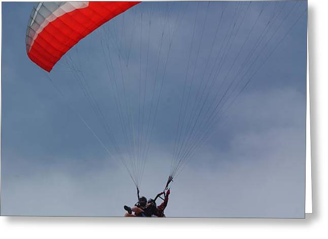 Backlit Paragliders from Below - Torrey Pines Greeting Card by Anna Lisa Yoder