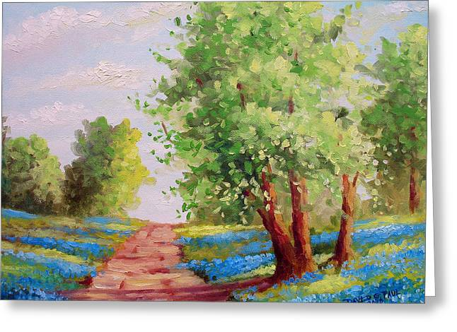 Bluebonnet Landscape Greeting Cards - Backroad Bluebonnets Greeting Card by David G Paul
