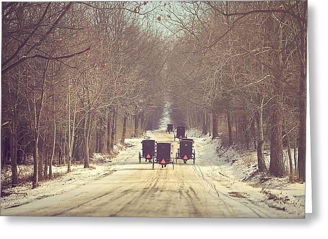 Winter Greeting Cards - Backroad Buggies Greeting Card by Carrie Ann Grippo-Pike