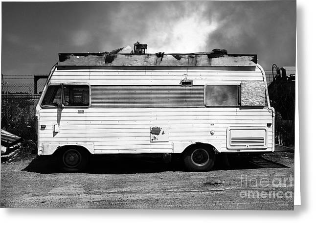 Trailer Trash Greeting Cards - Backroads Americana Abandoned Recreational Vehicle RV 5D22705 black and white Greeting Card by Wingsdomain Art and Photography