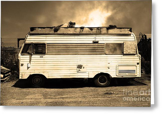 Trailer Trash Greeting Cards - Backroads Americana Abandoned Recreational Vehicle RV 5D22705 Sepia Greeting Card by Wingsdomain Art and Photography