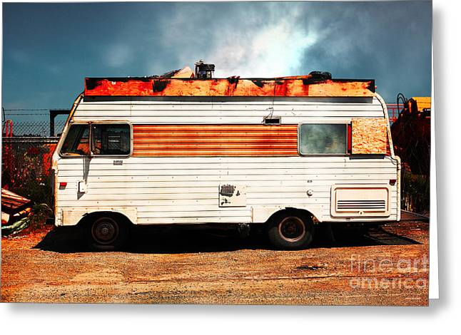 Trailer Trash Greeting Cards - Backroads Americana Abandoned Recreational Vehicle RV 5D22705 Greeting Card by Wingsdomain Art and Photography