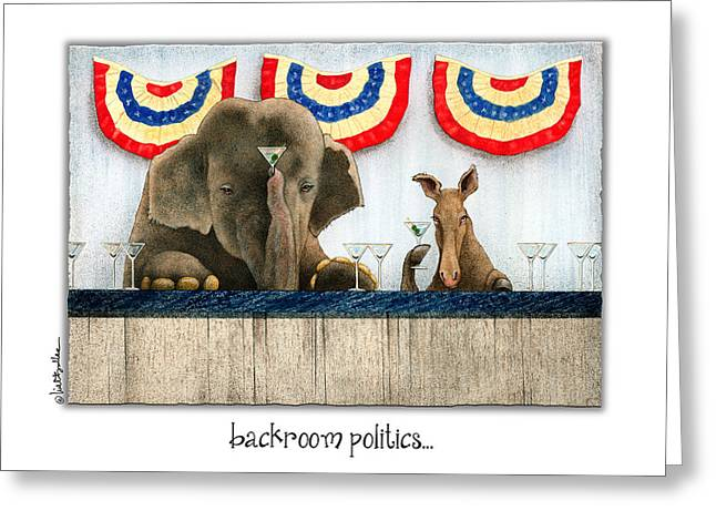 Republican Greeting Cards - Backroom Politics... Greeting Card by Will Bullas