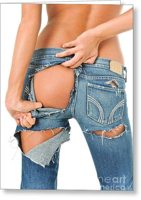 Booty Greeting Cards - Backside of a sexy girl in torn blue jeans  Greeting Card by Jt PhotoDesign