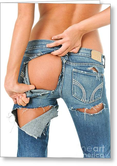 Butt Cheeks Greeting Cards - Backside of a sexy girl in torn blue jeans  Greeting Card by Jt PhotoDesign