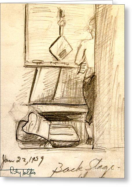 Dressing Room Drawings Greeting Cards - BackStage-1939- Wilmington DE. Greeting Card by Art By Tolpo Collection